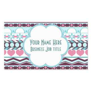 Whimsical Blue and pink striped aztec pattern Business Card Template