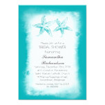 Whimsical blue beach bridal shower invitations
