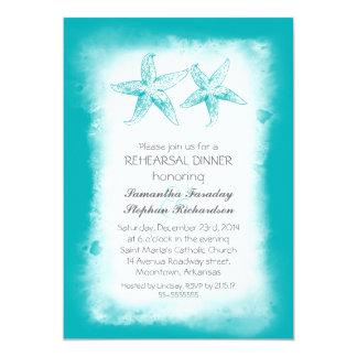 Whimsical blue beach rehearsal dinner invitations