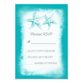 Whimsical blue beach wedding RSVP cards