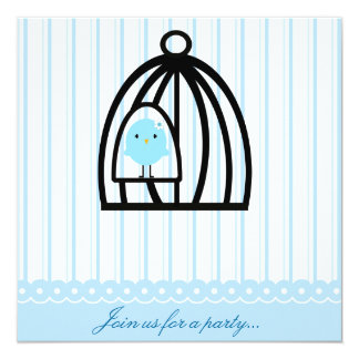 Whimsical Blue Bird Party Invitation