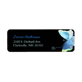 Whimsical Blue Butterfly Address Labels