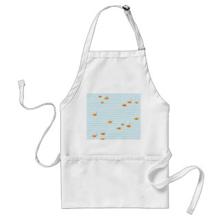 Whimsical Blue chevron with gold fish Adult Apron