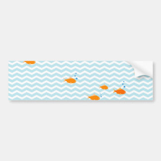 Whimsical Blue chevron with gold fish Bumper Sticker
