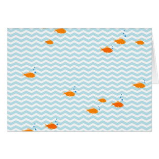 Whimsical Blue chevron with gold fish Cards