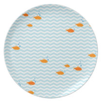 Whimsical Blue chevron with gold fish Dinner Plate