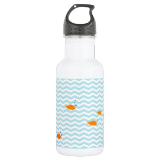 Whimsical Blue chevron with gold fish Stainless Steel Water Bottle