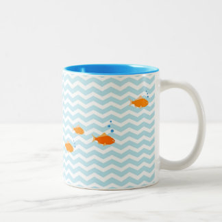 Whimsical Blue chevron with gold fish Two-Tone Coffee Mug