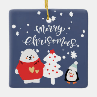 Whimsical Blue Christmas Critters Pattern Ceramic Ornament