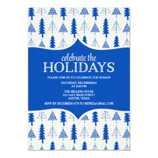 Whimsical Blue Christmas Trees Party Invitation