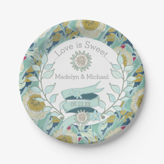 Whimsical Blue Floral Custom Wedding Paper Plates 7 Inch Paper Plate
