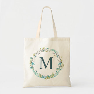 Whimsical Blue Floral Wreath Monogram Tote Bag