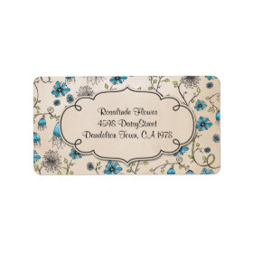 whimsical blue flowers on beige personalized address labels