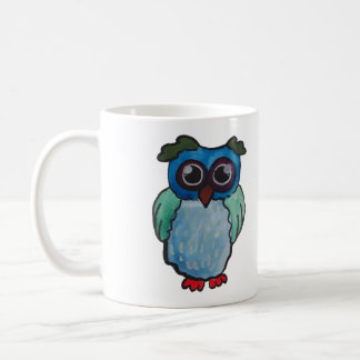 Whimsical Blue Green Owl Mug You Have My Attention
