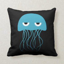 Whimsical Blue Jellyfish Cartoon Throw Pillow