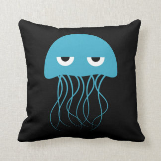Whimsical Blue Jellyfish Cartoon Throw Pillow