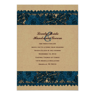 Whimsical Blue Lace Brown Wedding Invitation