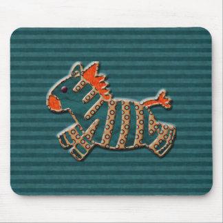 Whimsical Blue & Orange Zebra Mousepad