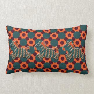 Whimsical Blue & Orange Zebra Pillow