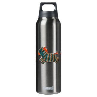 Whimsical Blue & Orange Zebras 16 Oz Insulated SIGG Thermos Water Bottle