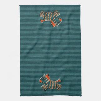 Whimsical Blue & Orange Zebras Kitchen Towel