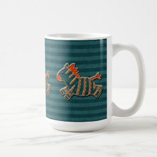 Whimsical Blue & Orange Zebras Mug