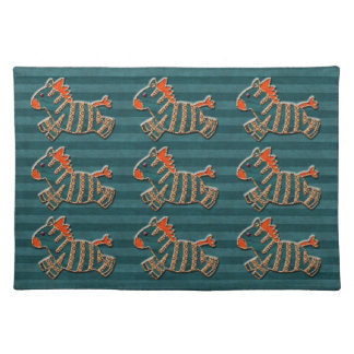 Whimsical Blue & Orange Zebras Placemat Cloth Placemat