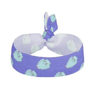 whimsical blue owls hair tie