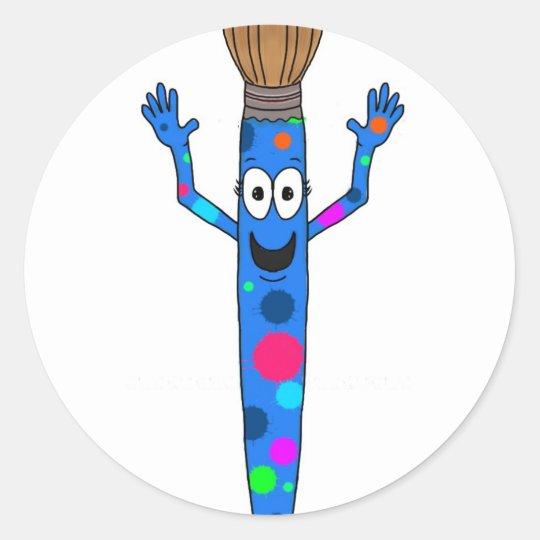 Whimsical Blue Paintbrush Art paint Brush happy Classic Round Sticker