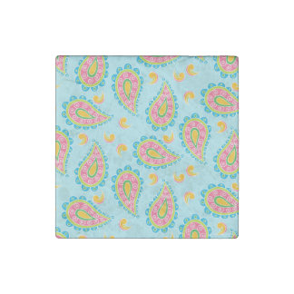 Whimsical Blue Paisley Stone Magnet