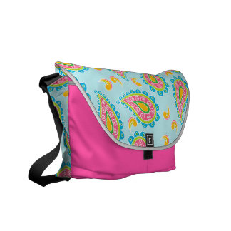 Whimsical Blue Paisley Messenger Bags