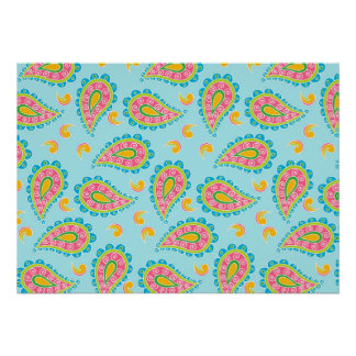 Whimsical Blue Paisley Poster