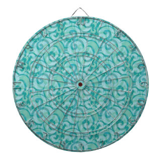 whimsical blue pattern dartboard with darts