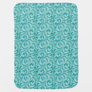 whimsical blue pattern receiving blanket