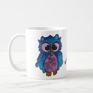 Whimsical Blue Purple Owl Mug - Need Coffee!