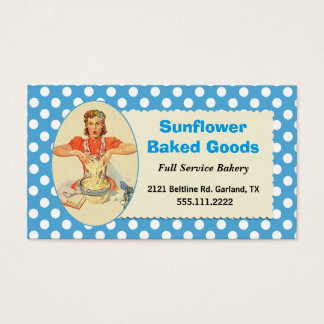 Whimsical Blue Retro Woman Bakery Business Card