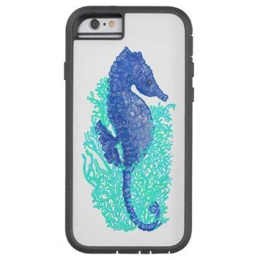 Beach Themed Whimsical Blue Seahorse Case
