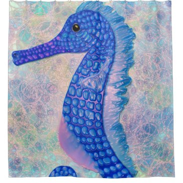 Whimsical blue seahorse with bubbles shower shower curtain