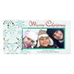 Whimsical Blue Snowflakes holiday photocard Photo Greeting Card