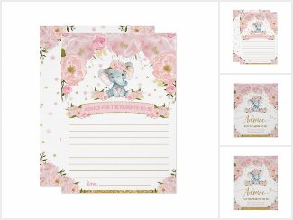Whimsical Blush Floral Elephant Baby Shower