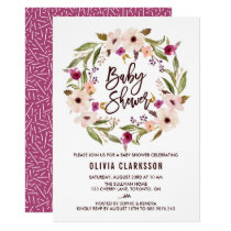 Whimsical Bohemian Floral Wreath Baby Shower Card