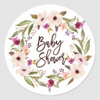 Whimsical Bohemian Floral Wreath Baby Shower Classic Round Sticker