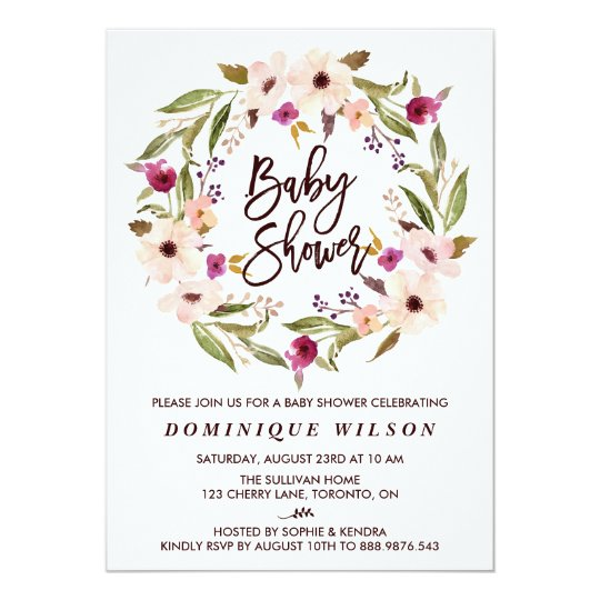 Whimsical bohemian floral wreath baby shower invitation zazzle whimsical bohemian floral wreath baby shower invitation filmwisefo