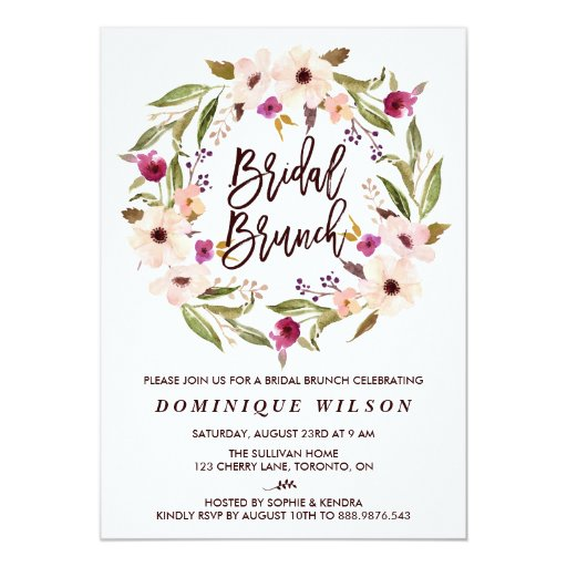 Whimsical Bohemian Floral Wreath Bridal Brunch Card