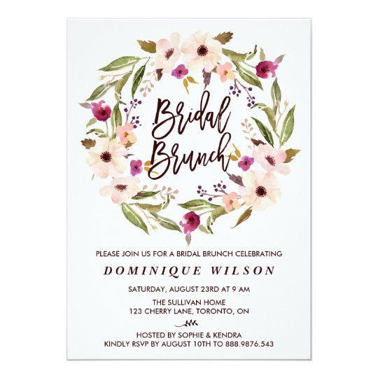 whimsical bohemian floral wreath bridal brunch invitation zazzle com