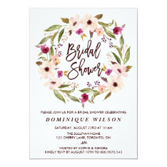 Whimsical Bohemian Floral Wreath Bridal Shower Card at Zazzle