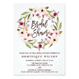 Whimsical Bohemian Floral Wreath Bridal Shower Card