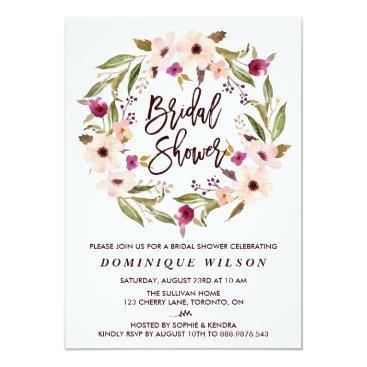 Beach Themed Whimsical Bohemian Floral Wreath Bridal Shower Card
