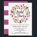 """Whimsical Bohemian Floral Wreath Bridal Shower Card<br><div class=""""desc"""">Feminine bridal shower invitation featuring modern brush calligraphy and watercolor floral wreath. This is invitation is perfect for both spring and fall showers. Matching and similar items are available.</div>"""