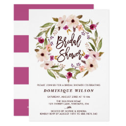Whimsical Bohemian Floral Wreath Bridal Shower Card